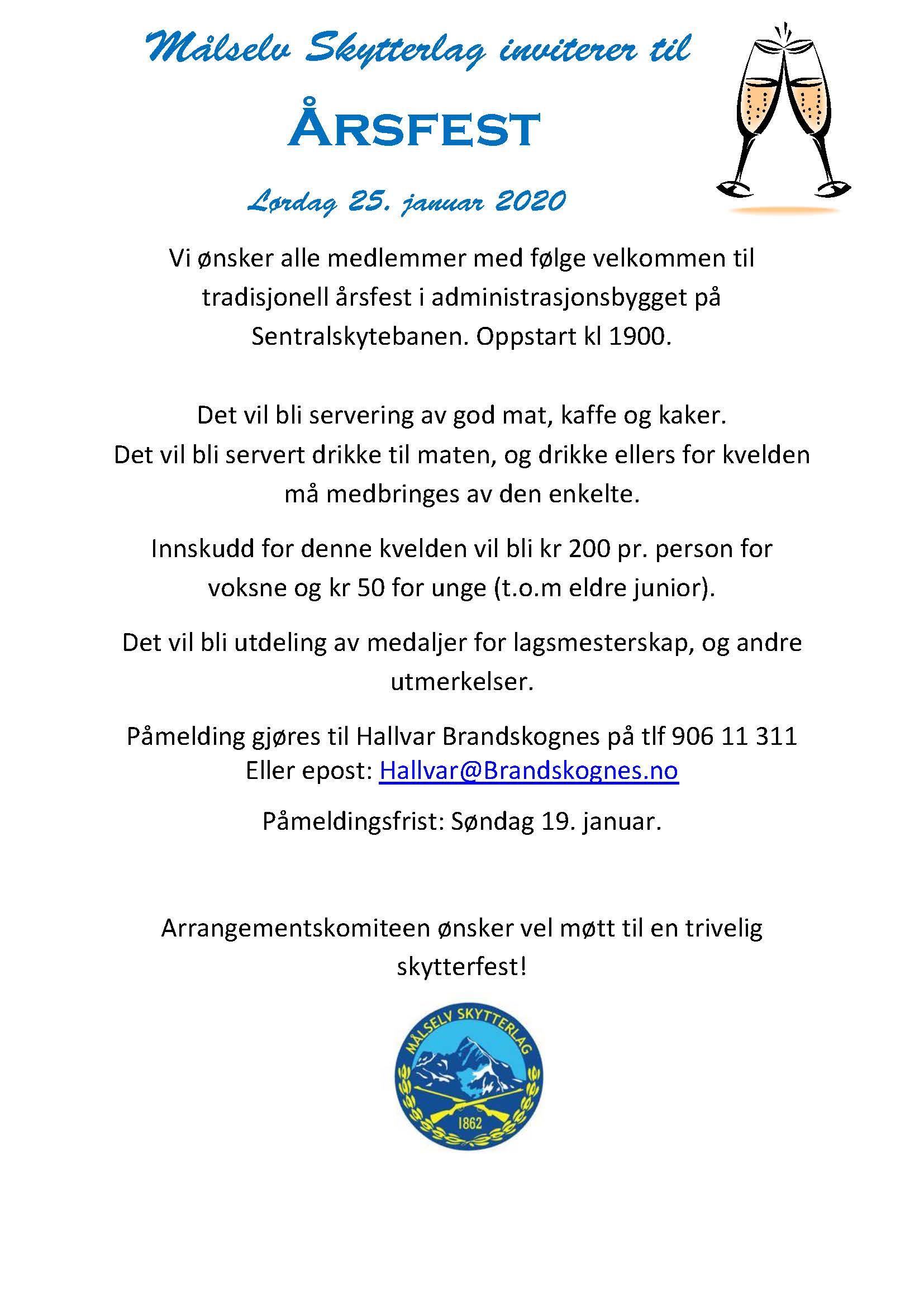 Årsfest 2020 invitasjon