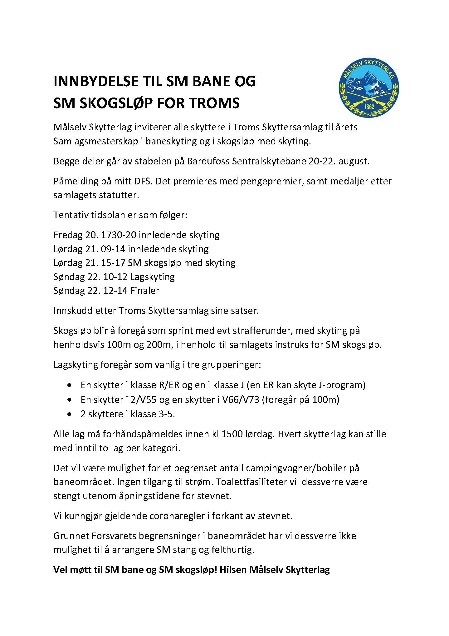 Innbydelse til SM bane og SM skogsløp Troms 2021